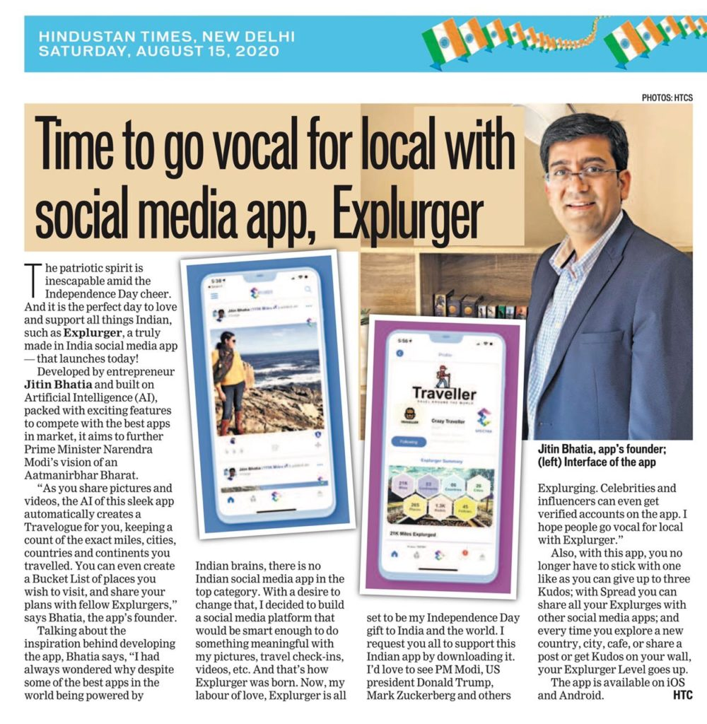 Hindustan Times Article on Explurger